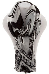 Black & White Indian Art Print Scarf