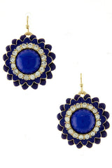 Blue & Gold Flower Drop Earrings