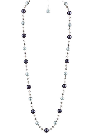 Blue Pearl Linked Necklace Set