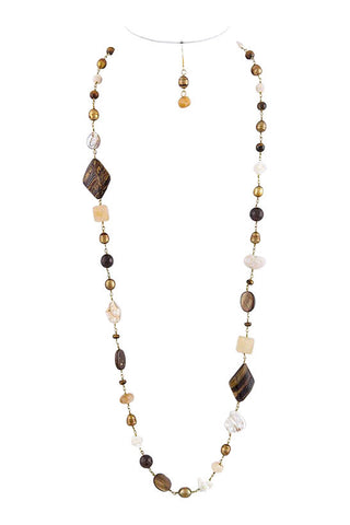 Brown Shell Stone Necklace Set