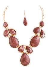 Brown Teardrop Stone Necklace Set