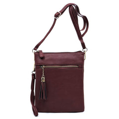 Burgundy Tasseled Crossbody Bag