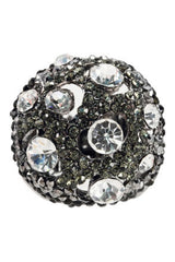 Charcoal & Crystal Round Ring