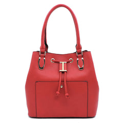 Cherry Red Drawstring Handbag