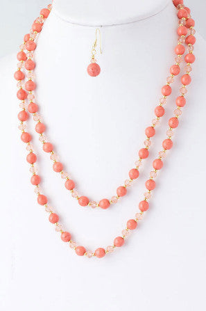 Coral Beaded Necklace Set