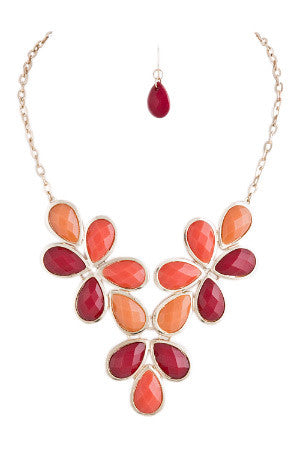 Coral Briolette Vine Necklace Set
