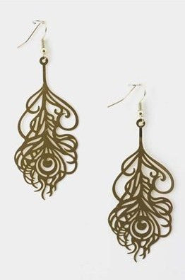 Gold Feather Designed Earrings