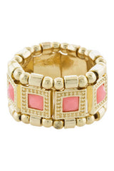 Gold & Pink Square Jewel Ring