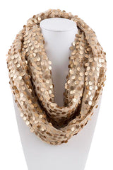Gold Sequined Infinity Scarf