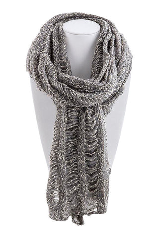 Gray Cutout Striped Sequin Scarf