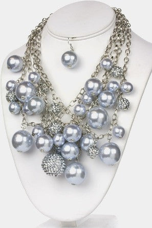 Gray Pearl & Crystal Ball Necklace Set