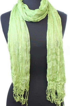Green Crinkle Textured Scarf