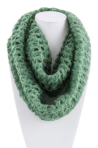 Green Fishnet Infinity Scarf