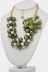 Green Flower & Beads Necklace Set