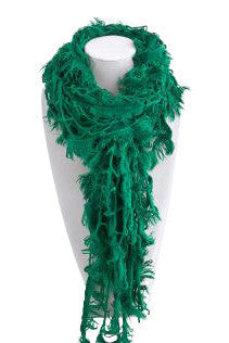 Green Frayed Edge Net Scarf