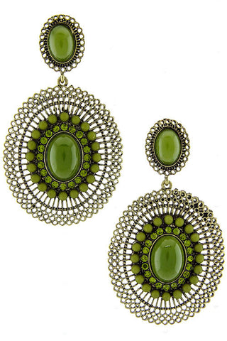 Green Jewel & Bead Drop Earrings