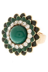 Green Multi Layered Flower Ring