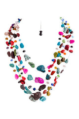 Multi Colored Stone Necklace Set