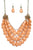 Orange Cluster Drop Necklace Set