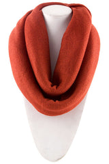 Orange Knitted Infinity Scarf