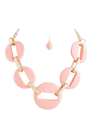 Peachy Pink Linked Necklace Set