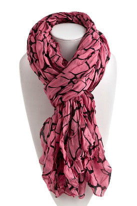 Pink Crackle Patterned Scarf