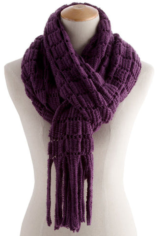 Purple Soft Knitted Fringe Scarf