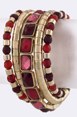 Red Acrylic Jewel Coil Bracelet
