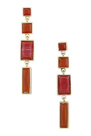 Red Acrylic Square Drop Earrings