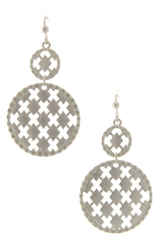 Silver Diamond Pattern Earrings