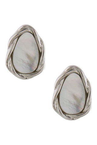 Silver Teardrop Sea Shell Stud Earrings