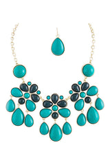 Teal Floral Dangle Necklace Set