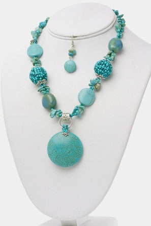Turquoise Beads & Stones Necklace Set
