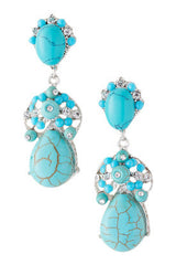 Turquoise Teardrop Stone Earrings