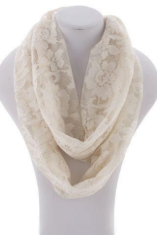 White Flower Lace Infinity Scarf