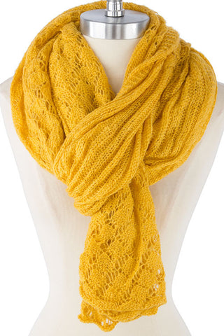 Yellow Light Weight Knit Scarf