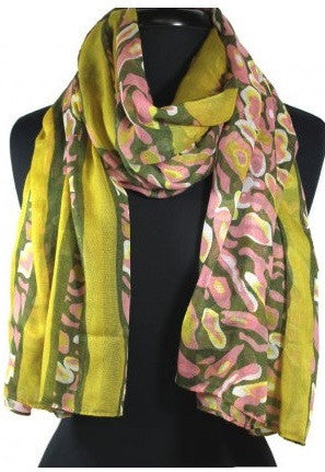 Yellow Multi Patterned Scarf