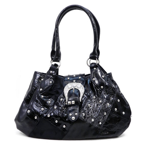 Black Studded Buckle Handbag