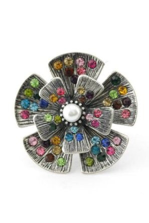 Multi Crystal & Pearl Flower Ring