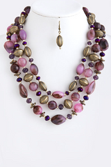 Purple Ornament Stone Necklace Set