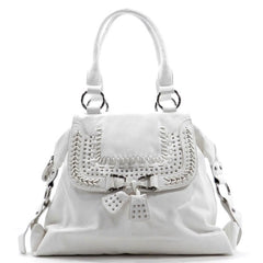 White & Silver Detailed Handbag