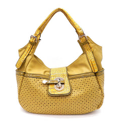 Yellow Multi Patterned Handbag