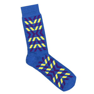 Blue Socks with Yellow Geometric Print Pattern | Socks Online - LAFITTE Australia