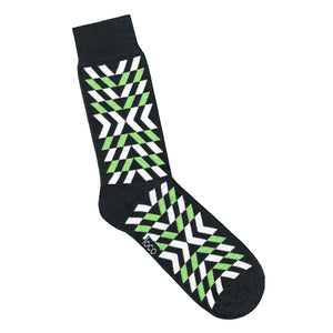 Black Sock with White and Green Geometric Print | Made in Australia | Shop Online