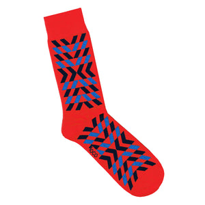 Red 'X' Print Patterned Socks | Geometric Print Socks | LAFITTE Australia
