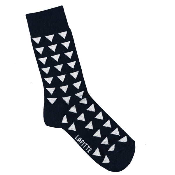 Navy Blue Bamboo Socks with Triangle Pattern | Shop Online LAFITTE Australia