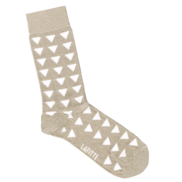 Cream Bamboo Socks with White Triangles | Shop Online | LAFITTE Australia