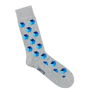 Hectagon Socks - Grey with blue hectagons | Shop Online LAFITTE Australia
