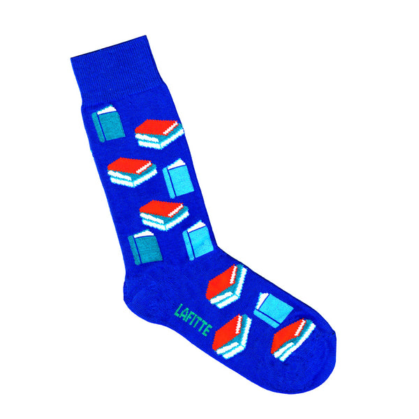 Royal Blue Socks with Book Pattern | Shop Online | LAFITTE Australia
