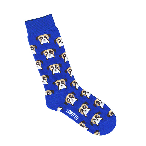 Blue Mens & Womens Socks With Boxer Dog Face Print | Shop Online Australia